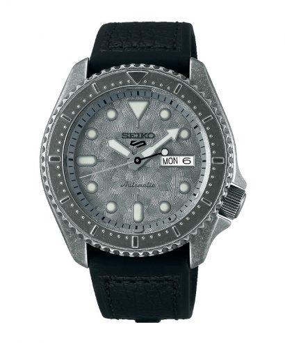 Seiko 5 Sports SRPE79K1 Silver Dial Black Leather Strap Men's Brand New Watch