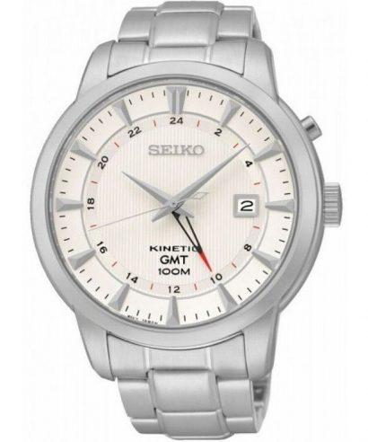 Seiko SUN029P1 Kinetic GMT White Dial Analogue Men's Watch