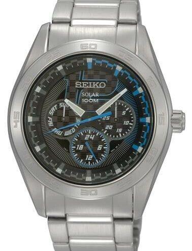 Seiko SNE193P1 Solar Black Dial Stainless Steel Men's Watch