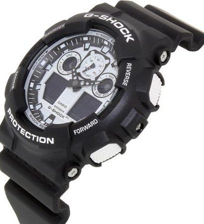 Casio G-Shock Men's GA100BW-1A Analog-Digital Dial Black Resin Watch